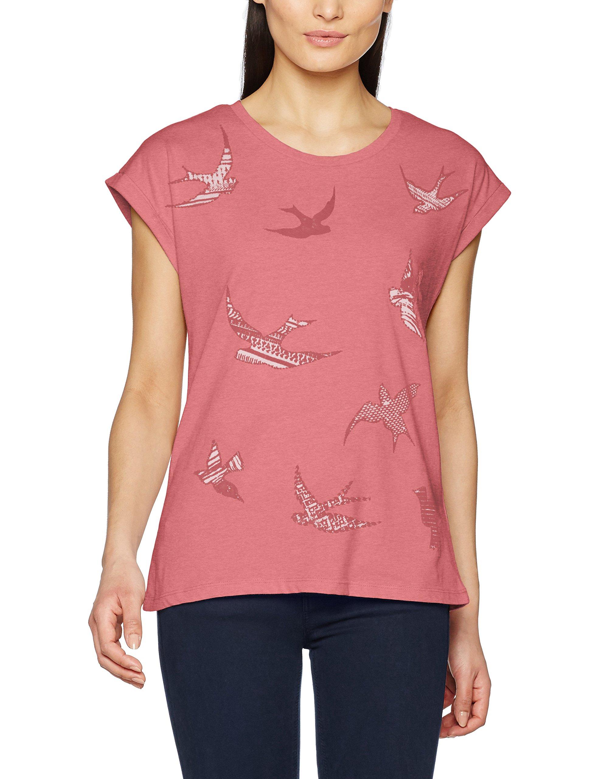 ESPRIT 037ee1k010, T-Shirt Donna, Multicolore (Berry Red 2), 36 (Taglia Produttore: Small)