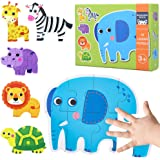Puzzles for Toddlers Ages 2 3 4 5 Years Old, Safari Animals Floor Jigsaw Puzzles for Beginner, Educational Gifts for Girls Bo