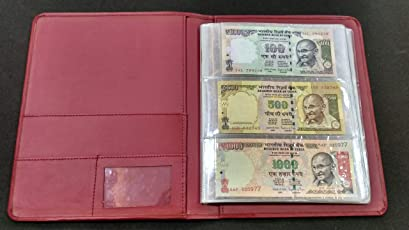 Nawkaar9 Banknote Paper Money Currency Note Collection Album for 72 Notes Maroon Gold (Limited Edition)