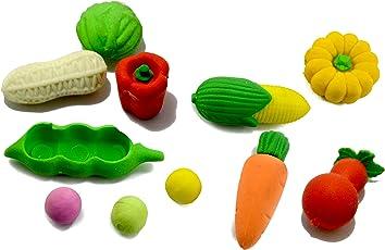 INFInxt Set of Adorable Vegetable and Fruit Shape Detachable Puzzle Erasers