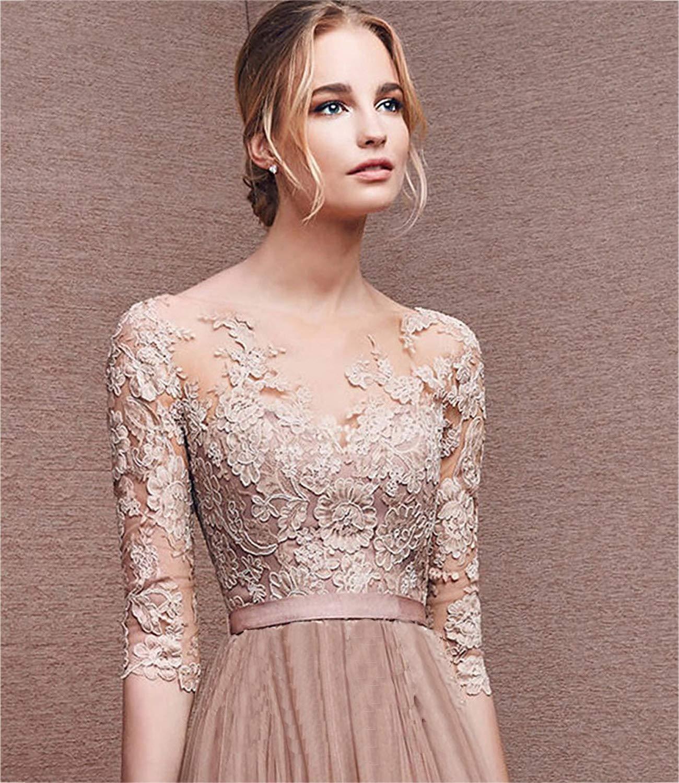 Minetom Donna Vestito Lungo Abito Da Cerimonia Elegante Vestiti Da  Matrimonio Lunghi Formale Banchetto Sera Maxi Dress Pizzo 09f826f639b