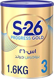 Wyeth S-26 Progress Gold Stage 3, 1-3 Years Premium Milk Powder Tin for Toddlers, 1.6kg-Promo Pack