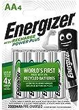 Energizer Batterie Ricaricabili AA, Recharge Power Plus, Confezione da 4