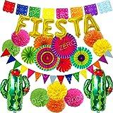 Zerodeco Multicolore Papier Pompoms Fiesta et Cactus Ballons Eventail Boule Banderole en Triangle Ventilateur de Guirlandes f
