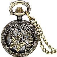 Jewelrywe Catena lunga Piccolo Orologio da tasca, fiori e farfalle retr¡§¡ã cavo pendente per il vestito, donne