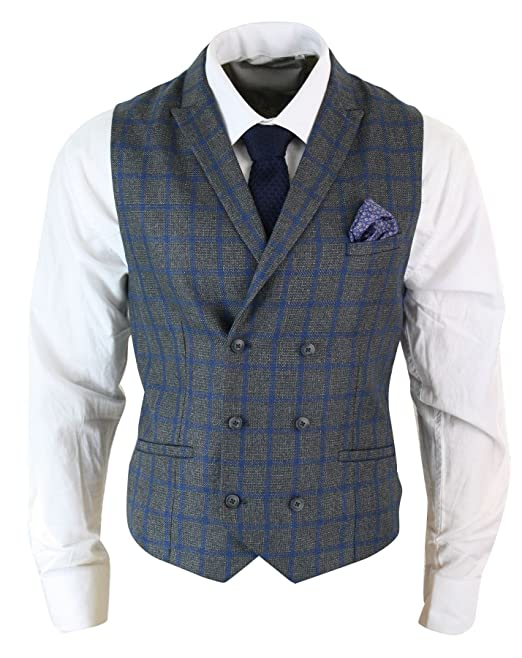 1920s Style Mens Vests Mens Vintage Peaky Blinders Double Breasted Waistcoat Tweed Check Smart Casual £34.99 AT vintagedancer.com