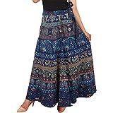 Rj14 Cotton Women's Cotton Wrap Around Western Wear Skirt (assorted design) free size (blue)