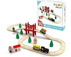 Tiny Land Pista Treno in Legno, Set Ferrovia in Legno (39 pcs)