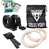 PULLUP & DIP Premium Gymnastic Rings, Wooden Gym Rings for Calisthenics & Crossfit - Wide Straps with Length Markings + Door