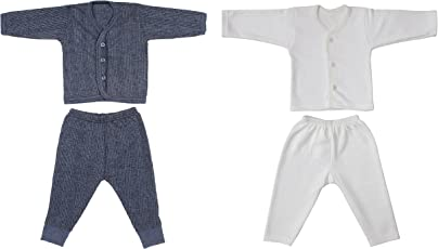 Littly Front Open Kids Thermal Top & Pyjama Set for Baby Boys & Baby Girls, Pack of 2 (1 White, 1 Dark Blue/Brown Color)