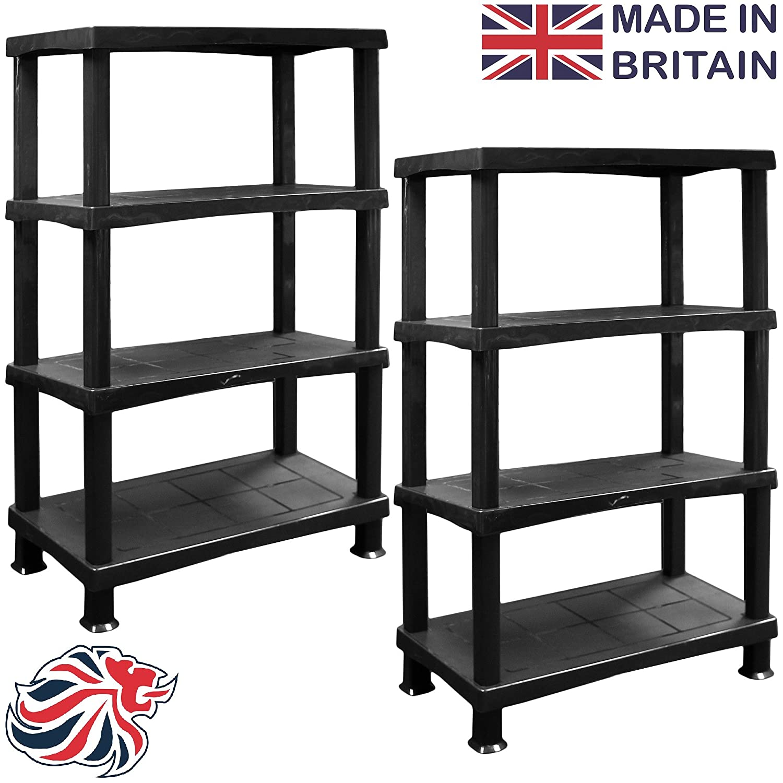 Crazygadget® storage shelving shelves unit 4 tier racking plastic ...