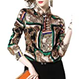 DOVWOER Elegante blusa para mujer con estampado floral y estampado barroco, manga larga, botones bajos, cuello alto, camisa c