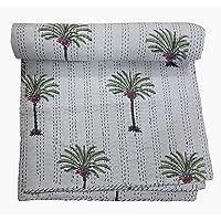 Handicraftworld Palm Tree Kantha Quilt, King Size Hand Stitch Kantha Palm Tree Bed-Cover, Indian Bohemian Kantha…