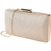 MaoXinTek Clutch Glitter, Damen Abendtasche Elgegante Glänzend Handtasche in Gold, Kette Umhängetasche Klein…