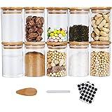 Funxim Tarros de Vidrio de Almacenamiento, Tarros de Cristal con Tapa 10 Pcs 270 ml Recipientes Organizador con Tapa Botes Cr