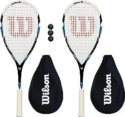 2 x Wilson Pro Team Squash rackets + hoofddeksel + 3 Squashbälle