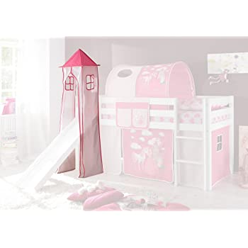 Jugendmöbel24.de Turmgestell + Turm-Vorhang Pink Rosa Prinzessin 100% Baumwolle für Hochbett Spielbett Stockbett Kinderbett Kinderzimmer Spielturm