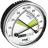 TFA Dostmann analoge thermo-hygrometer met metaal, kunststof, messing verchroomd, meerkleurig, (L) 71 x (B) 23 x (H) 71 mm