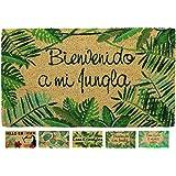 LucaHome - Felpudo Coco Natural 40x70 Antideslizante, Felpudo de Coco Bienvenido a mi Jungla, Felpudo Absorbente Entrada casa
