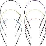 Aiguilles à Tricoter Aiguilles à Tricoter Circulaires 40cm ensemble Kit 6pcs Acier Inoxydable Rond en Métal Taille 2mm 3,5mm
