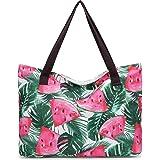 JANSBEN Große Strandtasche mit Reißverschluss Badetasche XXL Shopper Schultertasche Beach Bag fur Damen Herren