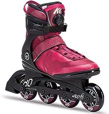 K2 Damen Fitness Inline Skates Alexis 80 Boa, ABEC 5 Kugellager 80mm Rollen 80A Softboot, Rot-Schwarz, 30C0112.1.1