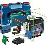 Bosch Professional 12V System bouwlaser GLL 3-80 CG (1x accu 12V, groene laser, binnenafwerking, met appfunctie, houder, werk