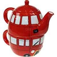 Puckator LON42 Lot Tasse et théière céramique Bus Anglais, Rouge/Blanc