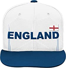 World Cup Soccer England Boys Jersey Hook Flag Snapback Cap with Adjustable Snap Closure, White, One Size