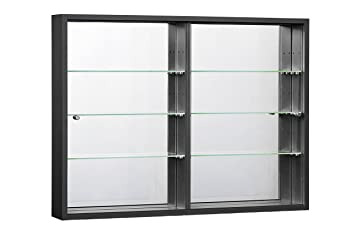 ORBIT PLUS Wall Mounted Glass Display Cabinet With Mirror Back, Wood /Black/White Part 86