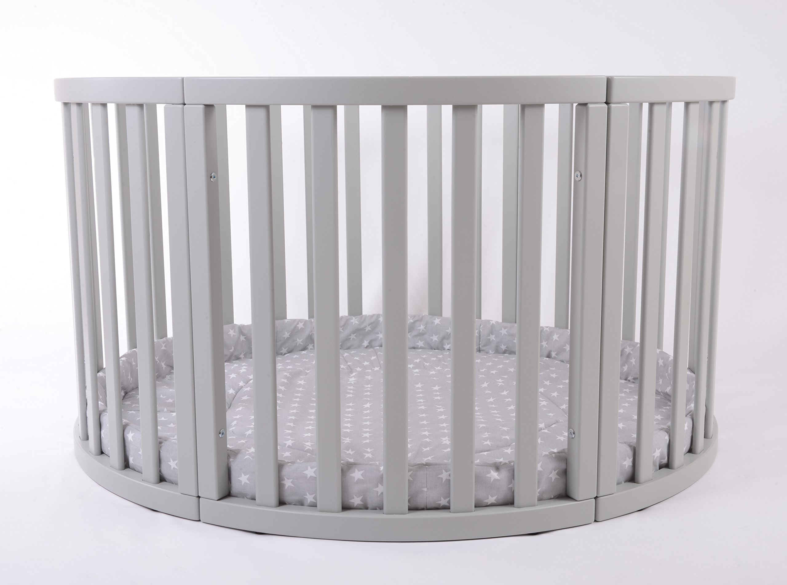 MJmark Round PLAYPEN APOLLO QUATTRO VERY LARGE Wooden play pen with play-mat SALE SALE (Grey Stars) MJmark Height 70 cm approx; Ø 120cm including Playmat made from solid hard wood (Birch) 3