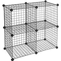 Amazon Basics Lot de 4 cubes de rangement en fil métallique - Noir
