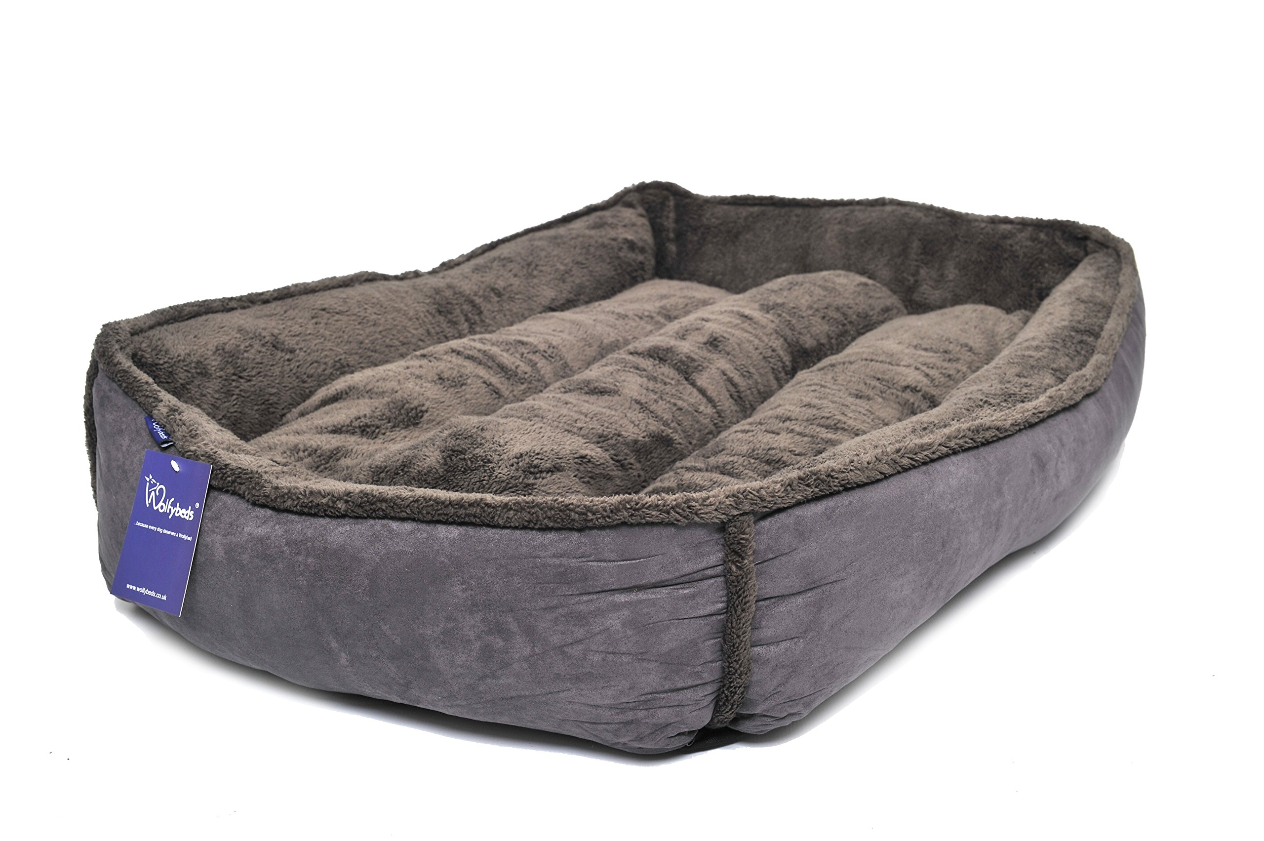 Wolfybeds Large Padded Fleece Dog Bed in Slate Grey (36″ x 24″) washable covers