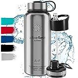 Gourde INOX Isotherme Active Flask 1l/500ml sans BPA + Paille (3 Bouchons)   Bouteille d'Eau Acier Inoxydable Isolée…