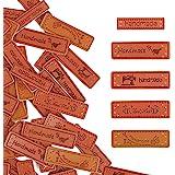 VINFUTUR 100 ± 2 stuks PU lederen handgemaakte etiketten Tags Rechthoek reliëf etiketten textiel lederen etiketten voor kledi