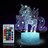Lampada notturna a forma di unicorno per bambini, 16 colori, con telecomando 1171