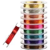 Naler 10 rollen koperdraad, 0,3 mm gemengde kleur kale koperdraad kralen draad koord voor ambacht, sieraden maken doe-het-zel