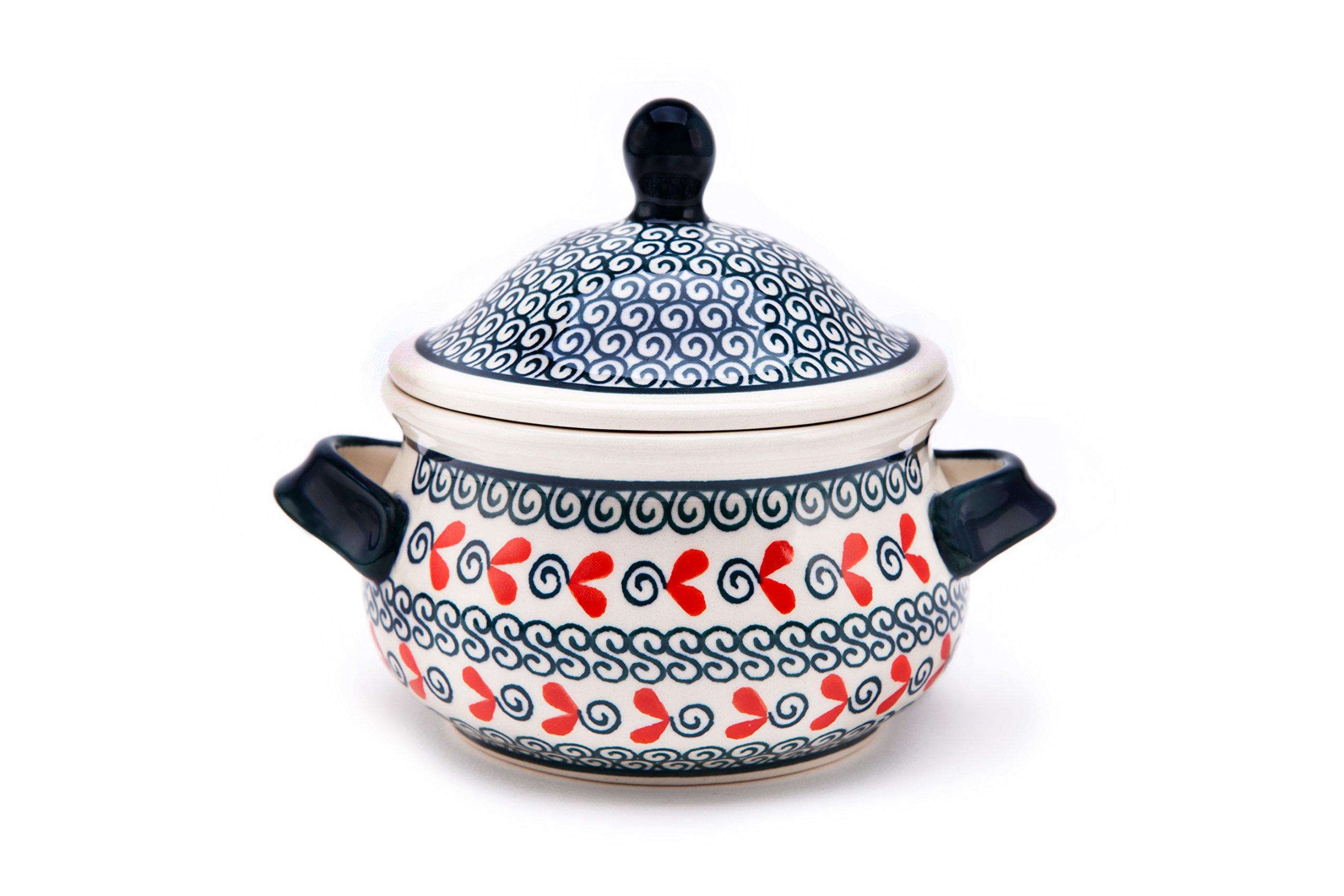 Hand-Decorated Polish Pottery Marmelade Pot/Soup Mug 0.45Litre/Wax Honey Pot Design 1138