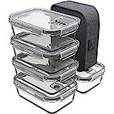 GENICOOK Lunchbox Boîte à lunch bento avec sac à lunch/bocaux en verre parfait pour la préparation des repas (5*840 ml)