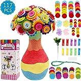 DigHealth Crafting Kit para Niñas, Juguete Kit de Artesanía, DIYFlorero con Ramo de Botones y Flor De Tela para Niñas Edad 4