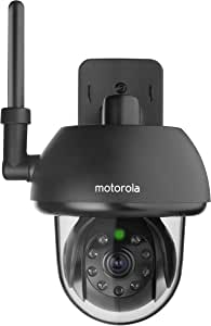 Motorola Scout 73 Connect HD Black Outdoor WiFi Remote Access Pet Monitoring Camera - Motorised Pan Tilt Function,Motion Triggered Recording,180 Degree Viewing Field,Night Vision Recording And  Weather Proof Wall Mountable Casing