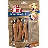 8in1 Triple Flavour Extra Meat Costolette 6 Pezzi, Masticabili a Forma di Costine, Pelle al Sapore di Manzo e Maiale con File