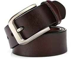 KEECOW Mens Leather Belt 38mm Wide,Genuine Leather Belt for Men,Great for Suits/Jeans/Casual and Formal Wear,Suits Up To 44in