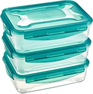 AmazonBasics 3pc Airtight Food Storage Containers Set, 3 x 1.2 Liter,Multicolour