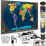 Pootack Mapa Mural para Rascar del Mundo 840*420mm - Rascar Island, País, las Ciudades que Visitó - Perfecto para los Viajero