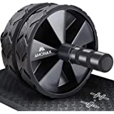 Amonax Convertible Ab Wheel Roller with Large Knee Mat for Core Abs Rollout Exercise. Double Wheel Set with Dual Fitness Stre