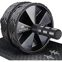 Amonax - Rullo per addominali convertibile con grande tappetino per ginocchio per esercizi di rollout Core Abs, doppia…
