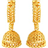 MEENAZ Traditional Temple Jewellery 18k One Gram Gold Ethnic Copper Brass Stylish South Indian Screw Back Studs Bali Hoop Jhu