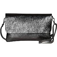 AmbraModa GLX11 - Damen Umhängetasche, Clutch, Handytasche aus echtem Leder mit abnehmbarem und verstellbarem…