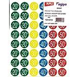 Apli 101373 - Étiquettes remise -20%/-50% - Ø 24 mm - 5 feuilles